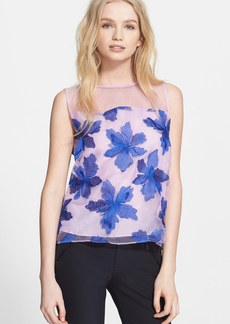 Rebecca Taylor Floral Embroidered Organza Top