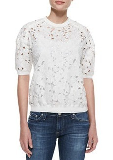 Rebecca Taylor Floral-Embroidered Short-Sleeve Top