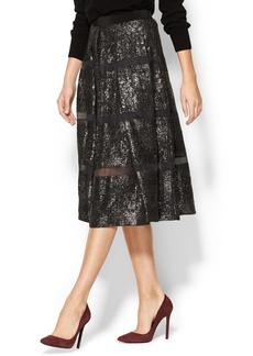 Rebecca Taylor Foil Lace Midi Skirt