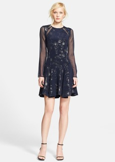 Rebecca Taylor Foil Print Silk Inset Fit & Flare Dress