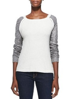 Rebecca Taylor Foiled Leopard-Print Chunky Pullover