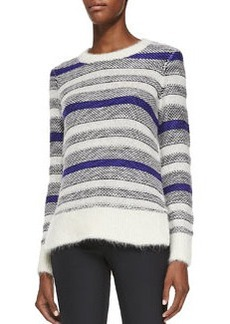 Rebecca Taylor Fuzzy Long-Sleeve Striped Pullover