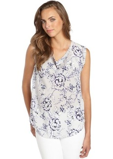 Rebecca Taylor grey and navy silk floral printed sleeveless blouse
