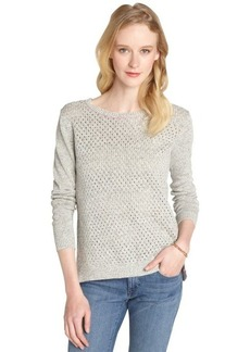 Rebecca Taylor grey and pink perforated cotton-linen blend 'Marl' scoop neck sweater