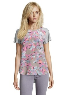 Rebecca Taylor grey tropical flower silk blend short sleeve tee blouse