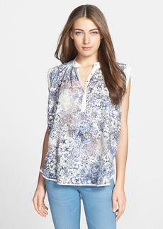 Rebecca Taylor High/Low Woven Print Top