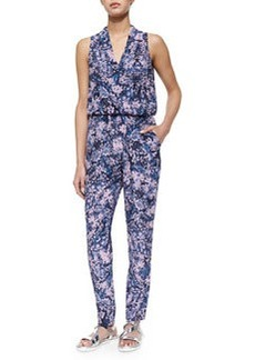 Rebecca Taylor Kiku Printed Draped Sleeveless Jumpsuit