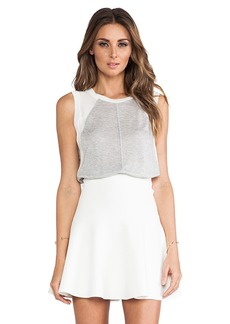 Rebecca Taylor Knit & Chiffon Top in Light Gray