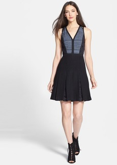 Rebecca Taylor Lace & Tweed A-Line Dress