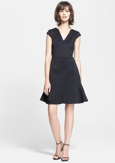 Rebecca Taylor Lace Back Peplum Hem A-Line Dress