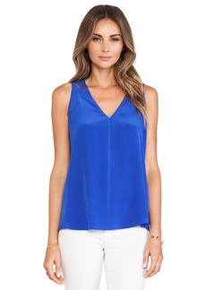 Rebecca Taylor Lace Back Tank in Blue