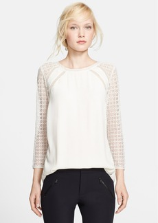 Rebecca Taylor Lace Sleeve Silk Trim Crepe Top