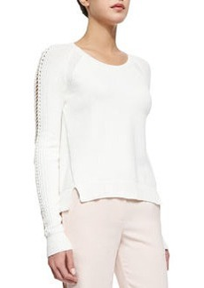 Rebecca Taylor Lace-Up Knit Pullover Sweater
