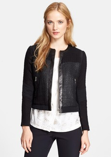 Rebecca Taylor Leather & Silk Trim Tweed Jacket