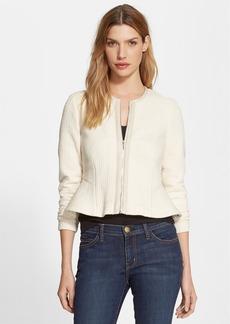 Rebecca Taylor Leather Trim Peplum Jersey Jacket