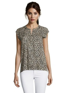 Rebecca Taylor leopard split v-neck sleeveless top