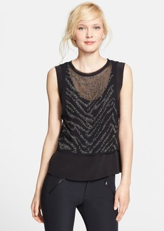 Rebecca Taylor 'Liger' Stud Front Layered Silk Top