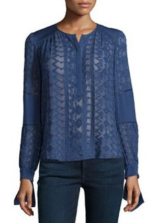Rebecca Taylor Long-Sleeve Embroidered Silk Top, Amethyst Shadow