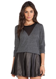 Rebecca Taylor Long Sleeve Jersey and Chiffon Top