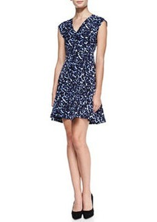 Rebecca Taylor Lynx-Print Flared V-Neck Dress