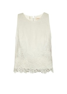Rebecca Taylor Matelassé and lace cropped top