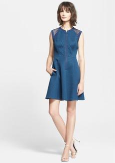 Rebecca Taylor Mesh Shoulder Quilted Fit & Flare Dress