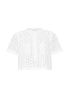Rebecca Taylor Mixed eyelet cotton cropped top