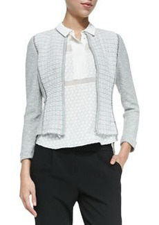 Rebecca Taylor Mixed-Pattern Fitted Tweed Jacket