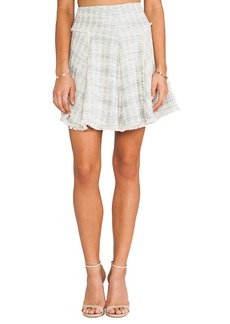 Rebecca Taylor Mixed Tweed & Lace Skirt in Blue
