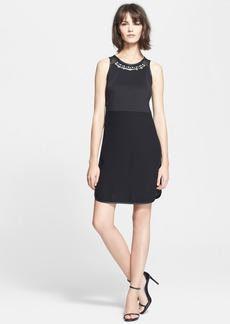 Rebecca Taylor 'Modern Deco' Embellished Mesh Back Sheath Dress