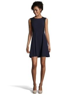 Rebecca Taylor navy and black colorblock pleat detail dress