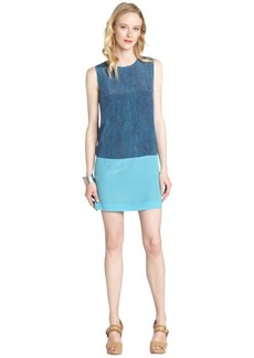 Rebecca Taylor navy and teal sleeveless 'Lovebird' silk shift dress