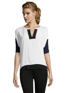Rebecca Taylor navy and white colorblock v-neck short sleeve blouse