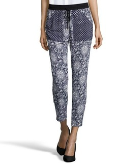 Rebecca Taylor navy and white stretch paisley print drawstring pants