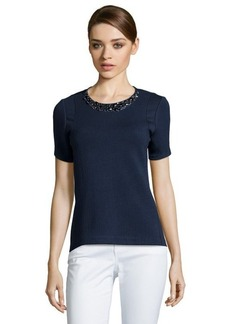 Rebecca Taylor navy ponte knit embellished short sleeve top