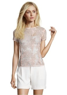 Rebecca Taylor nude floral lace tee shirt blouse