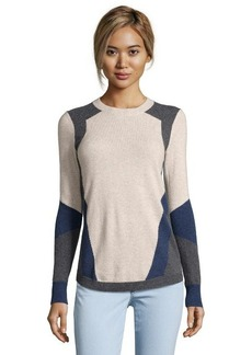 Rebecca Taylor oatmeal and grey knit intarsia colorblock crewneck sweater