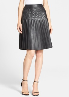 Rebecca Taylor Pleated Faux Leather Skirt