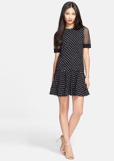 Rebecca Taylor Polka Dot Lace Sleeve Drop Waist Dress