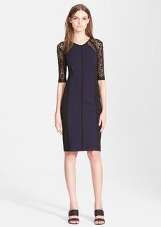 Rebecca Taylor Ponte & Lace Sheath Dress