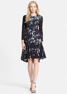 Rebecca Taylor Print Embellished Lace Sleeve Fit & Flare Dress