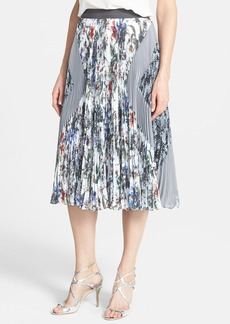Rebecca Taylor Print Pleated Georgette Skirt