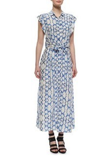 Rebecca Taylor Printed Flutter-Sleeve Maxi Dress