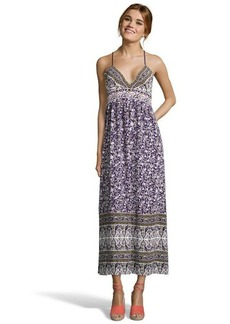Rebecca Taylor purple floral print crepe empire waisted tea length dress