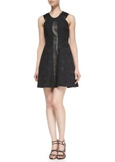 Rebecca Taylor Quilted Floral & Leather Dress