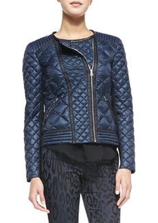 Rebecca Taylor Quilted Puffer Moto Jacket