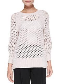 Rebecca Taylor Rib-Trim Perforated Knit Pullover Top