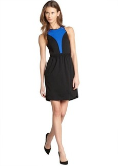 Rebecca Taylor royal and black colorblock ponte dress