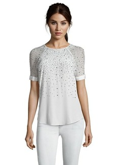 Rebecca Taylor sea salt crystal embellished silk illusion short sleeve blouse