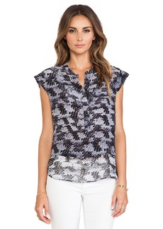 Rebecca Taylor Short Sleeve Blouse in Black